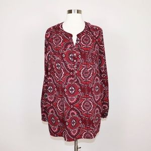 Croft & Barrow - Plus Size 2X Boho Printed Blouse